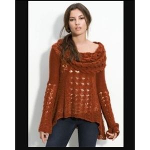Free People Open Knit Bell Sleeve CowlNeck Sweater
